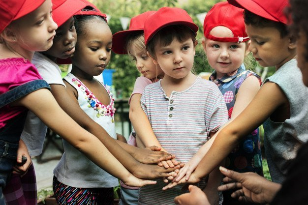 Group of Diverse Kids Hands Out Together Teamwork