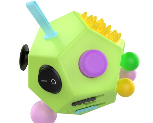 ATiC 12 Sided Fidget Cube, Fidget Twiddle Cube Dodecagon Stress Relief Hand Toy Decompression for ADD, ADHD, Autism Kids and Adults, GreenColorful