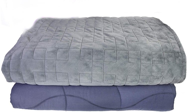 Dr Hart's Weighted Blanket Deluxe Set Patented ContourWave Weighted Blanket & Luxurious Microplush Removable Cover Heavy Calming Blanket for Adults