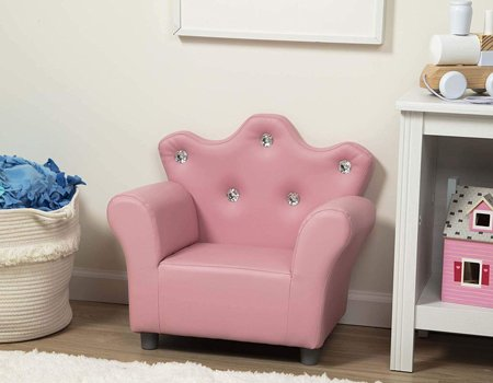 Melissa & Doug Child's Crown Armchair, Pink Faux Leather Children's Furniture (Armchair for Kids