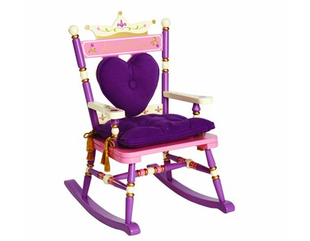 Wildkin Kids Princess Royal Rocking Chair for Boys and Girls, Perfect for Big Kids and Little Kids, Includes Padded Backrest and Seat Cushion, Purple and Pink Wooden Rocker Measures