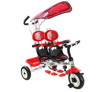Costzon 4 in 1 Twins Kids Trike Baby Toddler Tricycle Safety Double Rotatable Seat w Basket (Tandem Tricycle, Red)