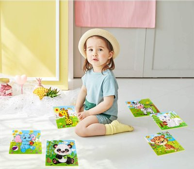 Aitey Wooden Jigsaw Puzzles for Kids Ages 2-5 Toddler Puzzles 9 Pieces Preschool Educational Learning Toys Set Animals Puzzles for 2 3 4 Years Old Boys and Girls (6 Puzzles)