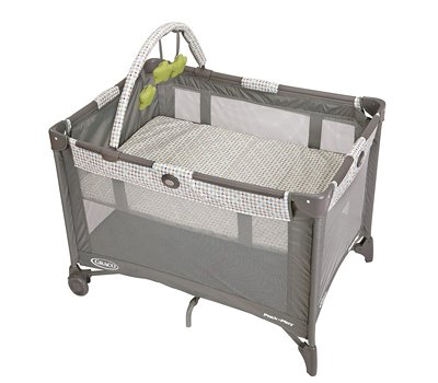 Graco Pack and Play On the Go Playard Includes Full-Size Infant Bassinet, Push Button Compact Fold, Pasadena