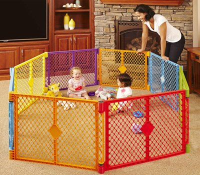Toddleroo by North States Superyard Colorplay 8 Panel Baby Play Yard Safe play area anywhere. Folds up with carrying strap for easy travel. Freestanding
