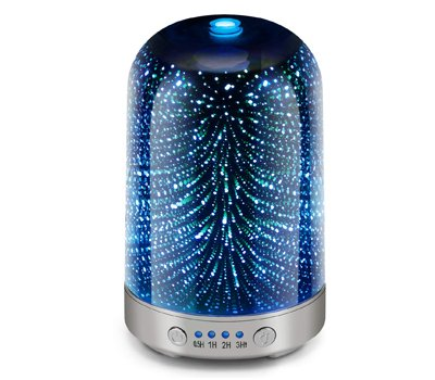 Essential Oil Diffuser 3D Glass Galaxy Aromatherapy 120ml Diffuser Aromatherapy Oil Humidifie Automatic Shut Off Home Office Yoga SPA Baby