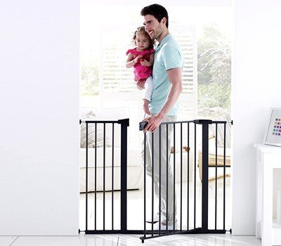 Munchkin Easy Close XL Pressure Mounted Baby Gate for Stairs, Hallways and Doors, Walk Through with Door